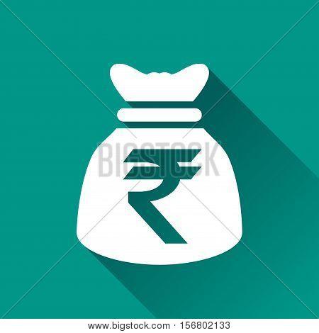 Illustration of rupee bag flat design icon