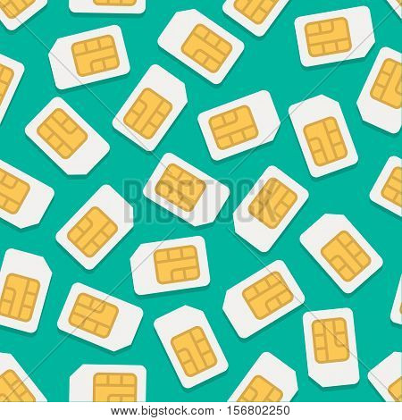 Vector seamless background with simcard in flat style