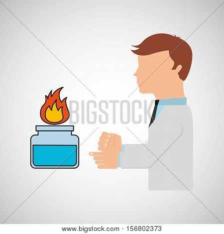 scientist worker research laboratory burner icon vector illustration eps 10
