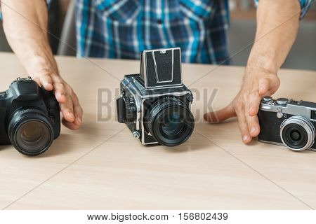 Photographing Equipment Camera Comparison Presentation Hobby Occupation Business Concept