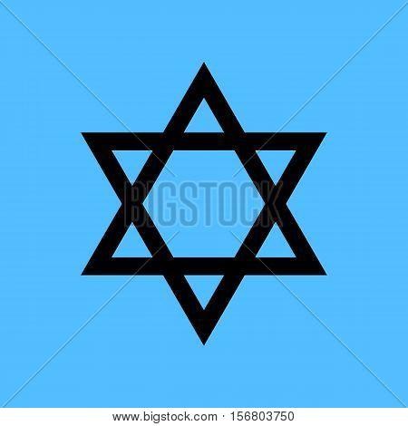 Black star of David icon vector. Blue background