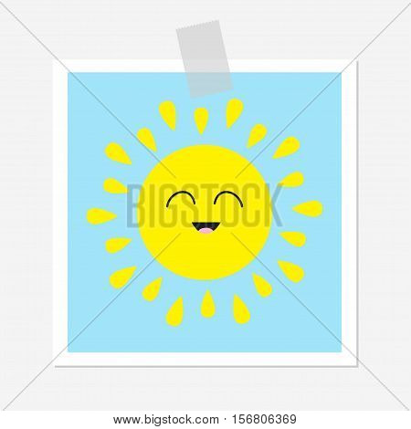 Sun shining icon. Cute cartoon character. Kawaii face smiling emotion. Greeting card. Adhesive transparency tape Hello summer. White background. Baby collection. Flat design Vector