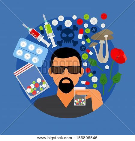 Drugs poster, man with pills on blue background. Vector illustration