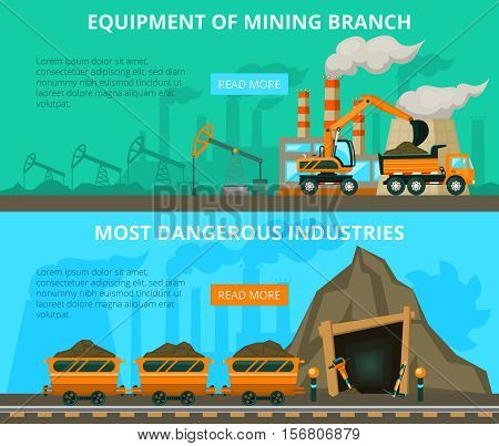 3 flat interactive horizontal banners underground mining of coal danger and equipment flat interactive horizontal banners website design abstract isolated vector illustration