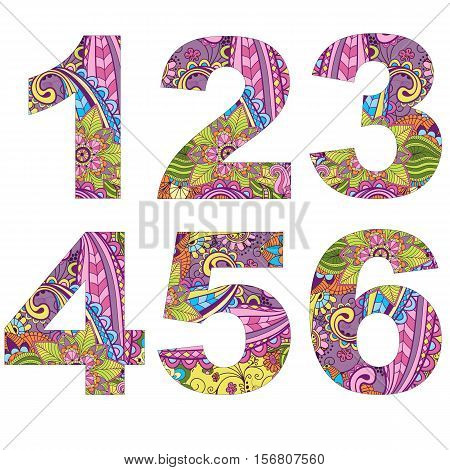 Set 6 arabic numerals decorated with vintage pattern isolated on white vector