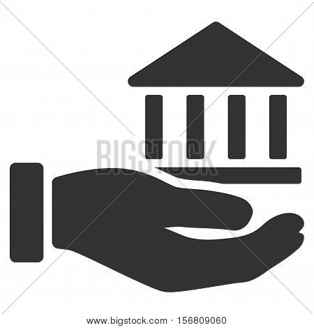 Bank Service Hand vector icon. Flat gray symbol. Pictogram is isolated on a white background. Designed for web and software interfaces.