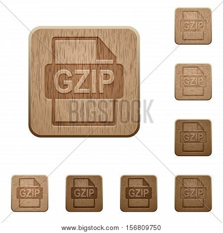 GZIP file format icons in carved wooden button styles