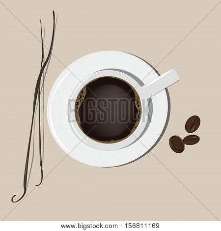 A cup of coffee. The stick of vanilla and cocoa beans. Vector