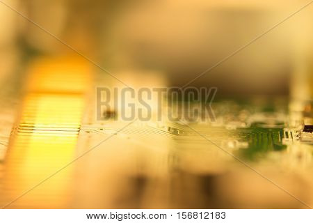 selective focus of close up the computer electronic circuit board