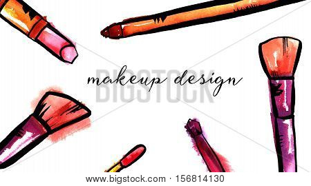 Watercolor and vector makeup brushes, lip gloss, lipstick, and pencil on white background. A horizontal template for a makeup artist's business card or flyer design