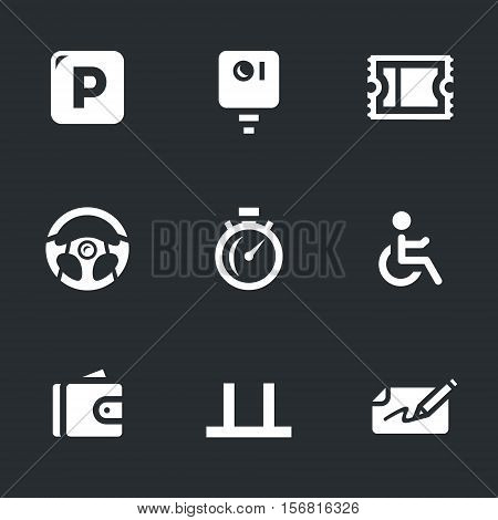 Parking sign, camera, ticket, leather, stopwatch, invalid, purse, place, fine.