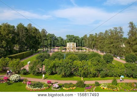 TSARSKOYE SELO, SAINT - PETERSBURG, RUSSIA - JULY 25, 2016: Part of The Freylinsky Garden (Maids of Honour Garden) and The Upper Bathhouse Pavilion near The Mirror Pond. View from The Cameron Gallery