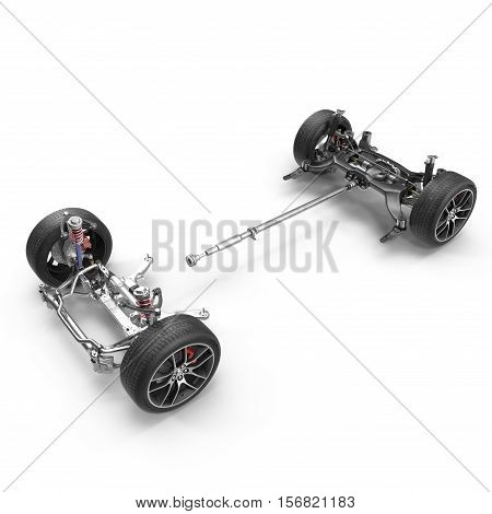 Car chassis without engine on white background. 3D illustration