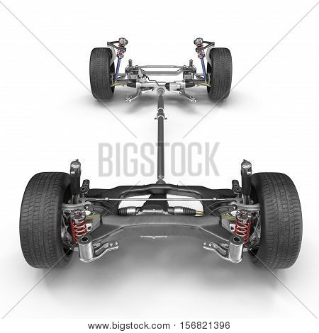 Car chassis without engine on white background. Front view. 3D illustration