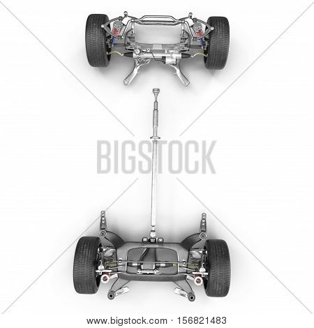 Car Chassis on white background. Top view. 3D illustration