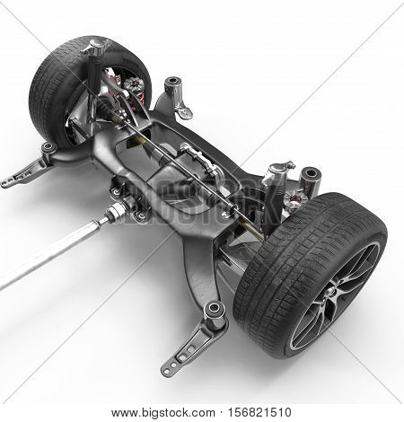 Car Chassis on white background. 3D illustration