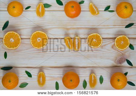 tangerines cut on the table in a particular order