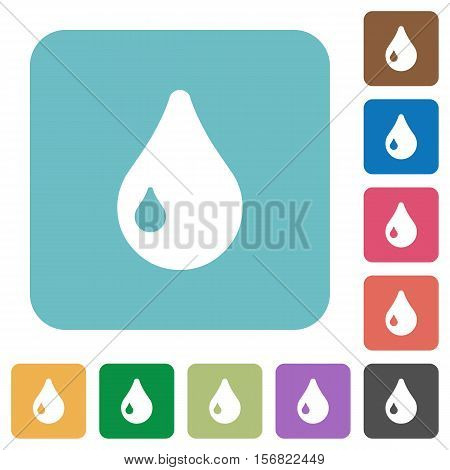 Drop white flat icons on color rounded square backgrounds