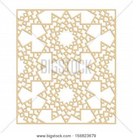 Laser cut vector pattern. Islamic die cut pattern. Cutout silhouette ornament. Fretwork oriental ornament. Vector islamic panel.