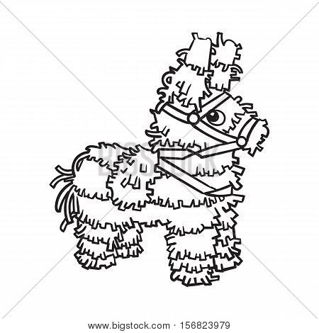 Traditional Mexican brightly pinata, black and white sketch style vector illustration isolated on white background. Hand drawn Mexican pinata, symbol of Mexical culture