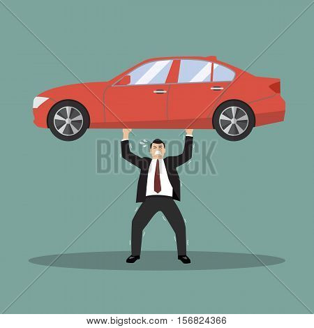 Businessman carry a heavy car. Business concept