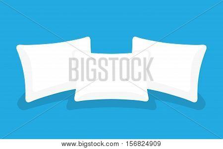 Three white pillows, set. Cushion bedroom pillow. vector illustration