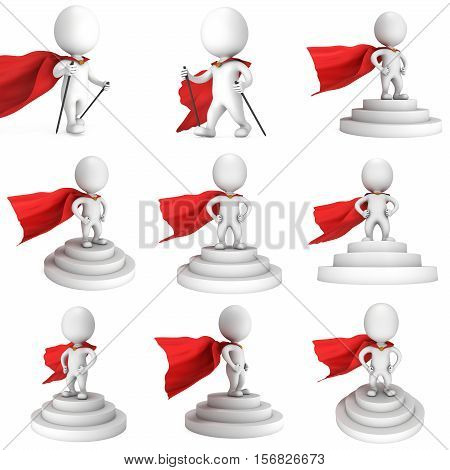 Brave superhero with red cloak stand on round stage podium for award ceremony. 3D render illustration set pedestal isolated on white background.