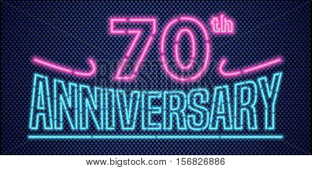 70 years anniversary vector illustration banner flyer logo icon symbol advertisement. Graphic design element with vintage style neon font for 70th anniversary birthday card
