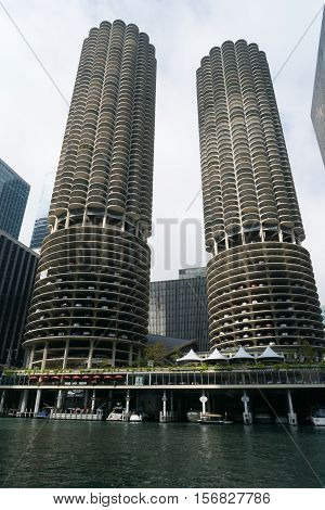 Chicago IL USA - September 25 2015: Marina City Towers in Downtown Chicago. Buildings for parking.