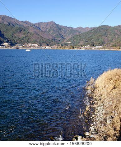 Kawaguchi-ko Lake With Township In Japan