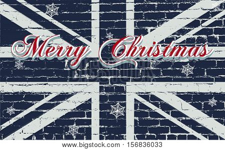 Merry Christmas greeting card with lettering and snowflakes on a Great Britain grunge flag with distressed old brick texture. Vector illustration.