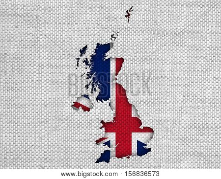 Map And Flag Of Great Britain On Linen,
