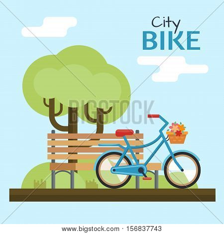 Woman bike. Bicycle on nature background.Flat style vector illustration.