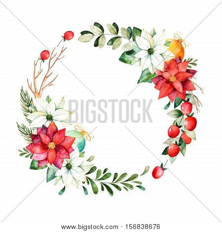 Bright wreath with leaves, branches, fir-tree, Christmas balls, berries, holly, pinecones, poinsettia.