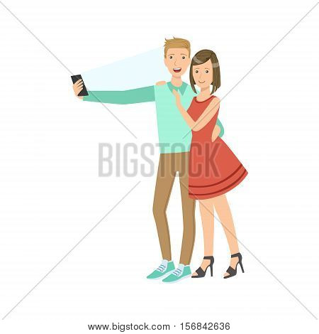 Couple Taking Pictures With Photo Camera Illustration. Colorful Simplified Character Flat Vector Drawing Isolated On White Background.