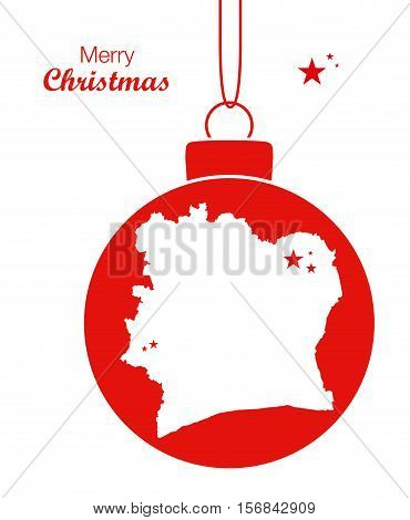 Merry Christmas Illustration Theme With Map Of Ivory Coast