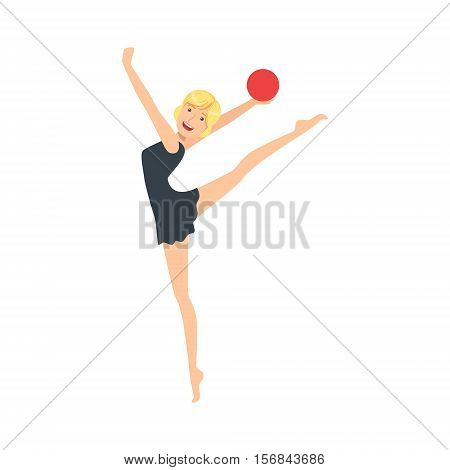 Blond Professional Rhythmic Gymnastics Sportswoman In Black Dress Performing An Element With Ball Apparatus. Female Competition Program Gymnast Performance Cartoon Vector Illustration.