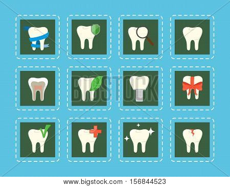 Conceptual teeth icons with various elements. Oral health care and dental hygiene teeth symbols. Dentistry vector illustration. Tooth care and restoration, stomatology and orthodontics.