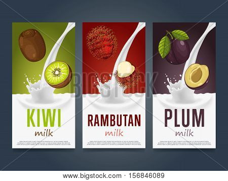 Milkshake concept with milk splash and fruit vector illustration. Milk dessert, yogurt, fruit mix, cocktail drink, fruit smoothie with kiwi, rambutan and plum packaging design template. Dairy product.