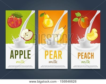 Milkshake concept with milk splash and fruit vector illustration. Milk dessert, yogurt, fruit mix, cocktail drink, fruit smoothie with apple, pear and peach packaging design template. Dairy product.