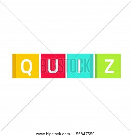Quiz logo vector, questionnaire show icon concept, flat style quiz text on colorful game cubes isolated on white background