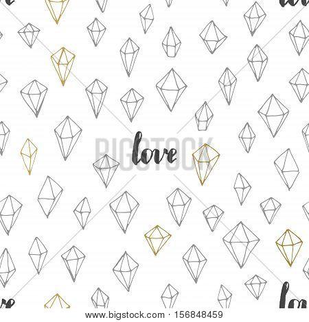 Geometric vector seamless trendy hand drawn Valentines pattern.