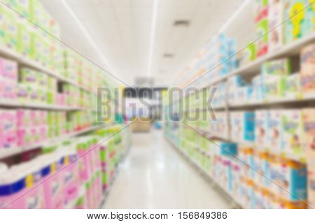 blur supermarket convenience store product shelf de focused for background