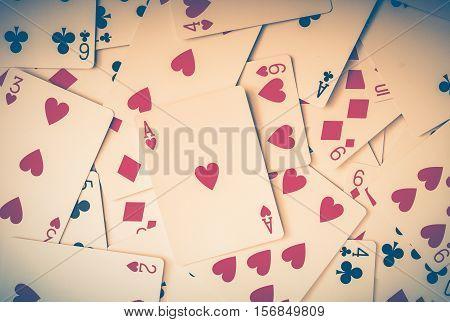 Poker Casino Playing Cards Closeup Background. Casino Games