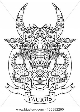 Taurus zodiac sign coloring book for adults vector illustration. Anti-stress coloring for adult. Tattoo stencil. Zentangle style. Black and white lines. Lace pattern