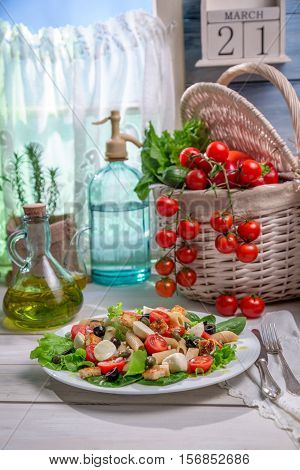 Healthy Food With Fresh Vegetables On Old Wooden Table