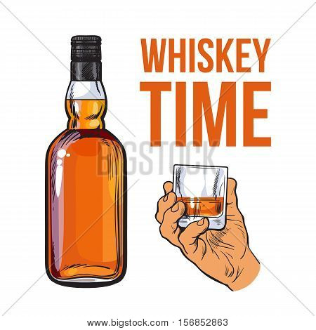 Whiskey bottle and hand holding full shot glass, sketch style vector illustration isolated. Realistic hand drawing of an unlabeled, unopened bottle and whiskey time concept for posters, postcards