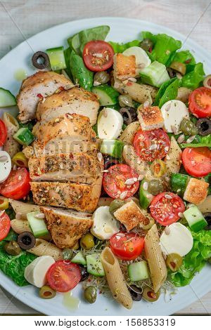 Caesar Salad With Fresh Vegetables And Chicken