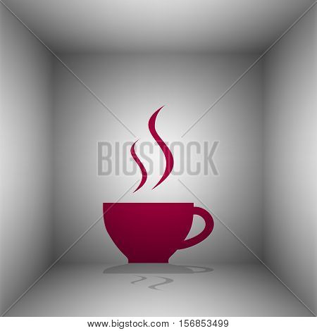 Cup Of Coffee Sign. Bordo Icon With Shadow In The Room.