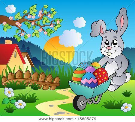 Meadow With Bunny And Wheelbarrow